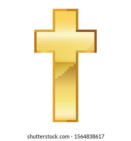 Pixel art design of Christian Cross. Vector illustration. Gold Christian Cross icon in pixel style isolated