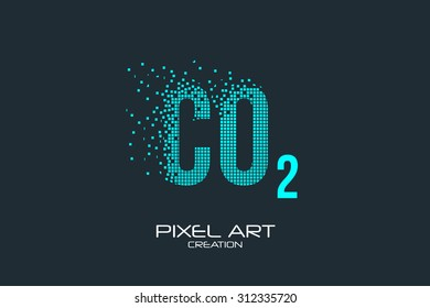 Pixel art design of the CO2 logo.
