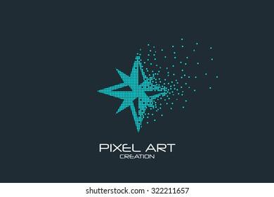 Pixel art design of the compass star logo.