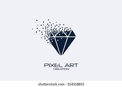 Pixel art design of the diamond logo.