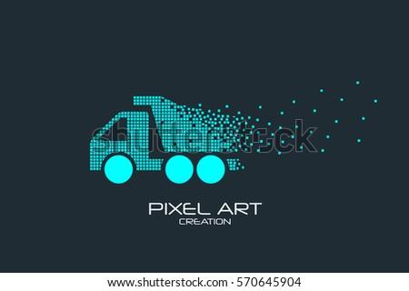Pixel Art Design Of The Dump Truck Logo
