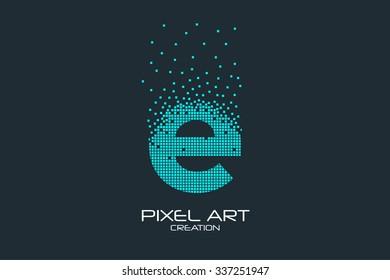 Pixel art design of the E letter logo.