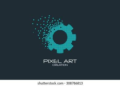 Pixel art design of the gear logo.