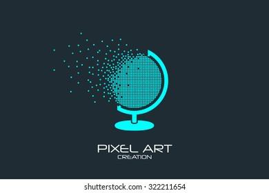 Pixel art design of the globe logo.
