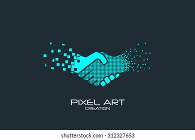 Pixel art design of the handshake logo.