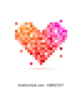 Pixel art design of Heart for Happy Valentine's Day celebration.