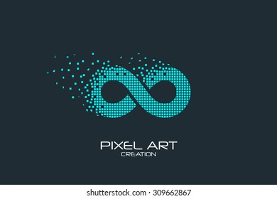 Pixel art design of the infinity logo.