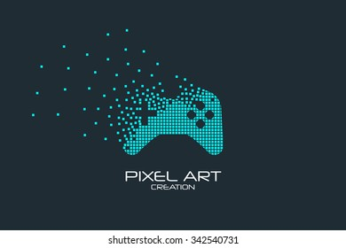 Pixel art design of the joystick icon logo.
