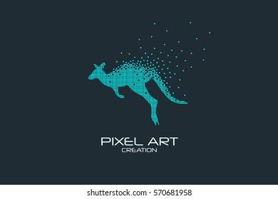 Pixel art design of the kangaroo logo design.