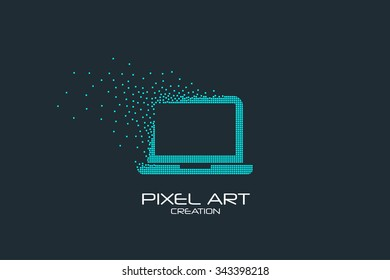 Pixel art design of the laptop icon logo.