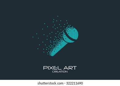 Pixel art design of the microphone logo.