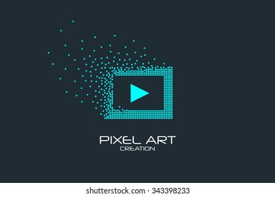 Pixel art design of the multimedia player icon logo.