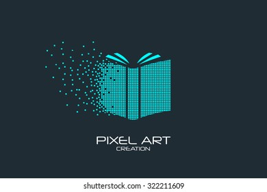 Pixel art design of the open book logo.