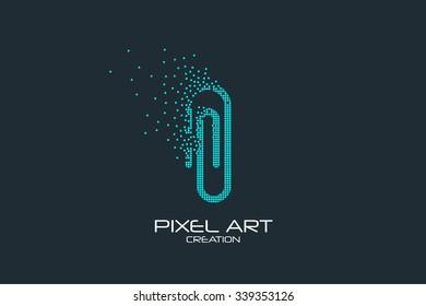 Pixel art design of the paper clip logo.