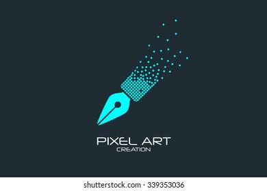 Pixel art design of the pen logo.