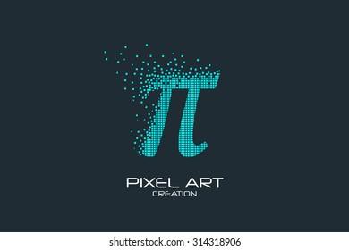 Pixel art design of the pi sign logo.