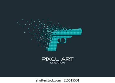 Pixel art design of the pistol logo.