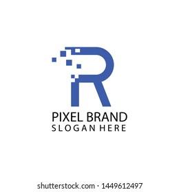 Pixel art design of the R letter logo, icon.Blue color.