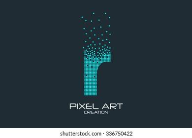 Pixel art design of the R letter logo.