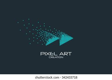 Pixel art design of the rewind icon logo.