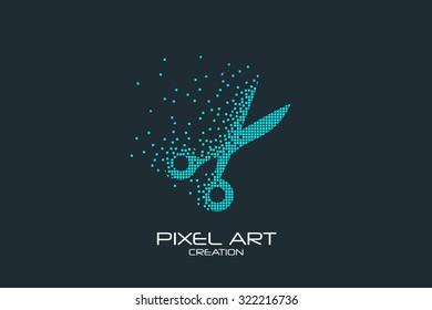 Pixel art design of the scissors  logo.