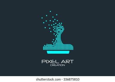 Pixel art design of the seal logo.