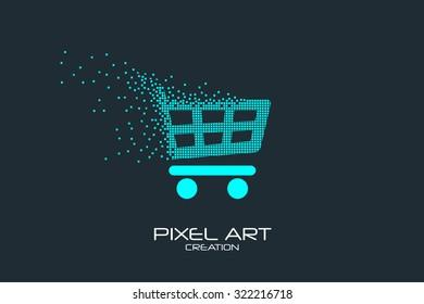 Pixel art design of the shopping cart  logo.