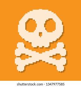 Pixel art design of Skull and Crossbone. Vector illustration. Symbol of Skull with Crossbone isolated