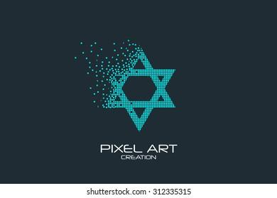 Pixel art design of the Star of David logo.