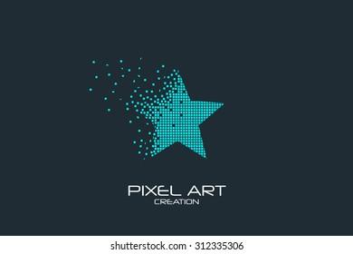 Pixel art design of the star logo.