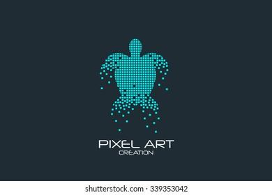Pixel art design of the turtle logo.
