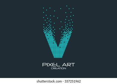 Pixel art design of the V letter logo.