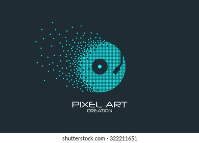 Pixel art design of the vinyl logo.