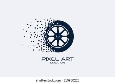 Pixel art design of the wheel  logo.