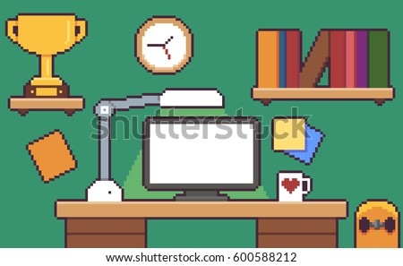 Pixel Art Desk Room Interior With Monitor Golden Cup Skateboard Bookshelf