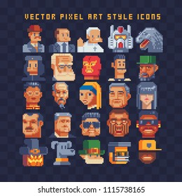 Pixel art different avatar profile characters set. 80s video game sprites. Various people characters, girls and men. Male and female faces, user pic. Isolated vector illustration. Sticker design.