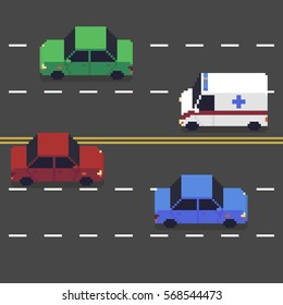 Pixel art different colored cars on the road
