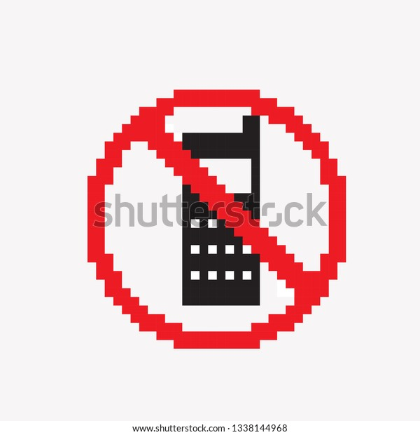 Pixel Art Do Not Phone Stock Vector Royalty Free 1338144968