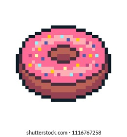 Pixel art donut isolated on white background.