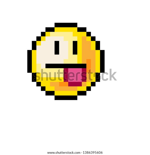 Pixel Art Emoji Tongue Face Objects Stock Image