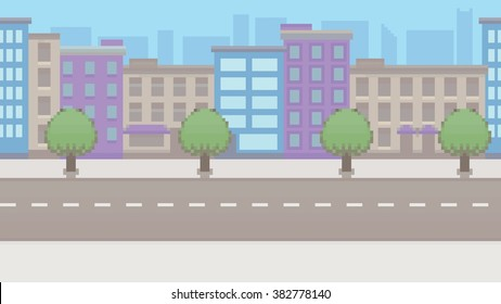 Pixel art empty city vector pattern background layer illustration