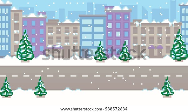 Pixel Art Empty Winter City Vector Stock Vector Royalty Free 538572634