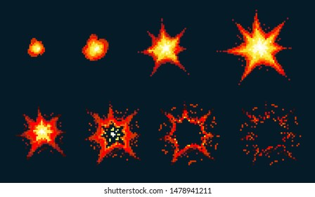 Pixel art explosion. Game icons set. Comic boom flame effects for emotion. Red flames. Animation frame. Process steps, Video fire.