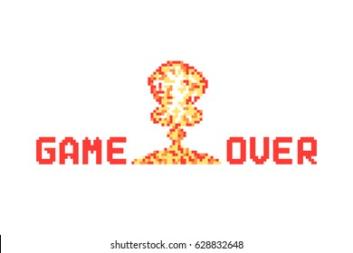 pixel art explosion like game over vector illustration. concept of 8-bit old sign for gamer and conflict with nuclear destroy. flat pixelart style logotype graphic design isolated on white background