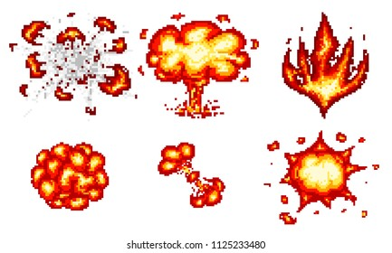 Pixel art explosions. game icons set. Comic boom flame effects for emotion. 8-Bit Vector. Bang burst explode flash nuclear bubble dynamite with smoke. Animation frame. Process steps, Video fire.