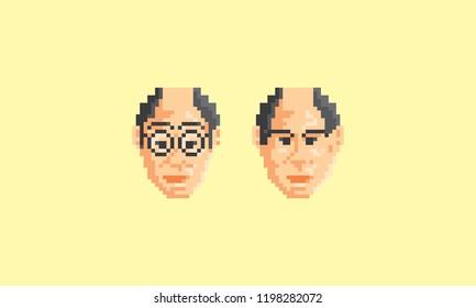 pixel art face man logo icon vector