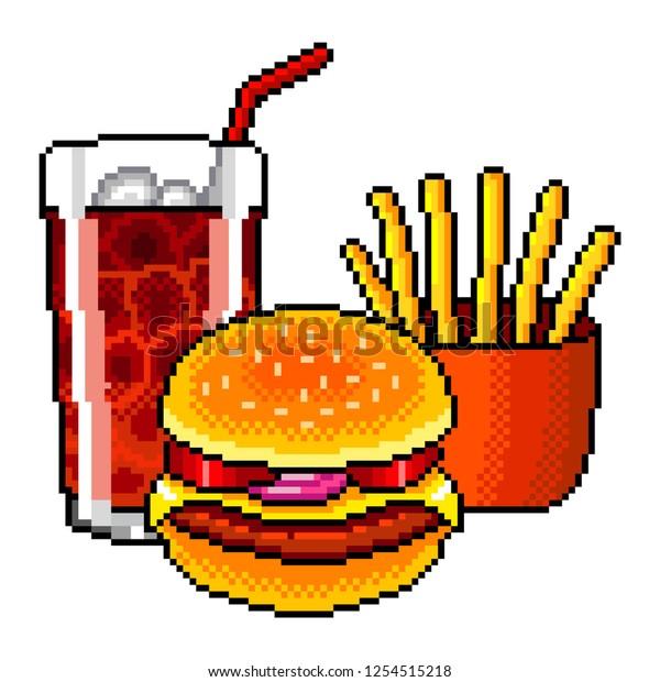 Image Vectorielle De Stock De Pixel Art Fast Food Cola Burger 1254515218