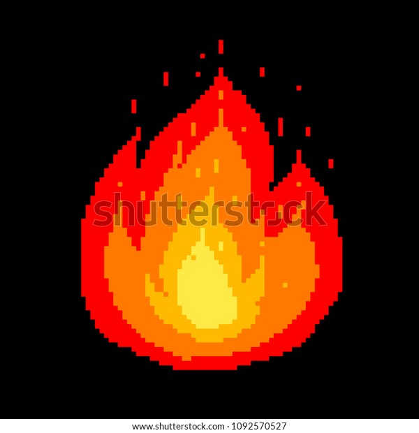 Pixel Art Fire 8bit Game Icon Stock Vector (Royalty Free