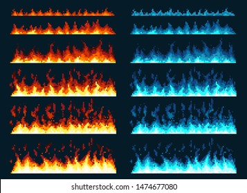 Pixel art fire. Game icons set. Comic boom flame effects for emotion. Blue and red flames. Animation frame. Process steps, Video fire.