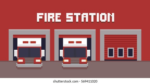 Pixel art fire station garage with two fire trucks